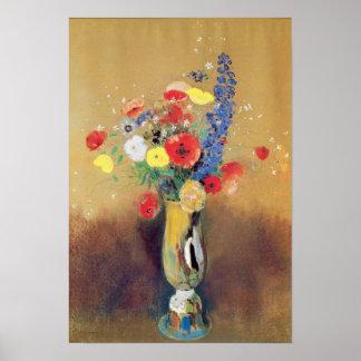 Flores salvajes en un florero Largo-necked, c.1912 Póster