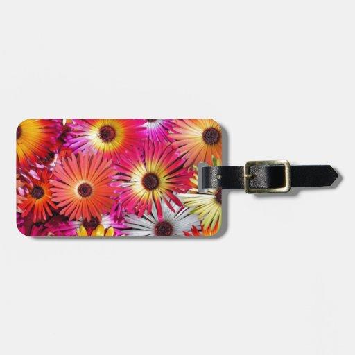 flores salvajes etiqueta para equipaje