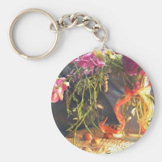 Flores salvajes llavero redondo tipo pin