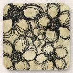 Flores salvajes negras del vintage posavaso
