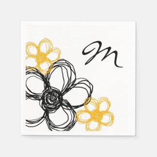 Flores salvajes negras y amarillas servilletas de papel