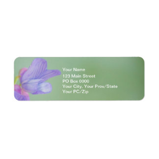 Flores salvajes púrpuras suaves con un fondo verde etiqueta de remite
