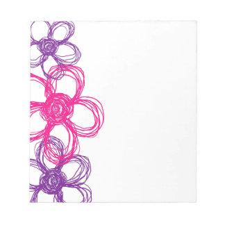 Flores salvajes púrpuras y rosadas bloc de notas