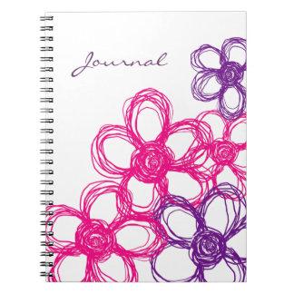 Flores salvajes púrpuras y rosadas libro de apuntes con espiral
