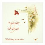 Flores salvajes que casan la invitación invitación 13,3 cm x 13,3cm