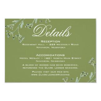 """Flores salvajes que casan la tarjeta de detalles invitación 3.5"""" x 5"""""""