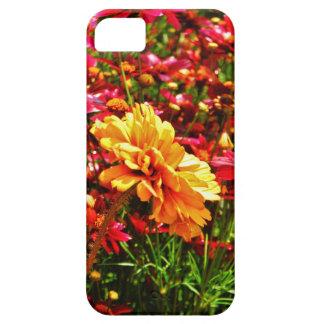 Flores salvajes rosadas amarillas y brillantes iPhone 5 cárcasa