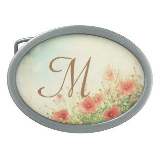 Flores salvajes rosadas en hebilla del cinturón hebillas de cinturon ovales