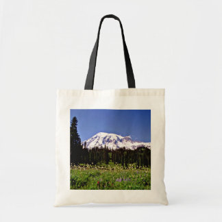 Flores salvajes y pico nevoso, Mt. Rainer, Washing Bolsa Lienzo