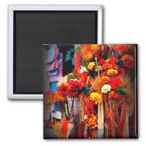 Flores secadas - fotos vivas del mercado imán cuadrado