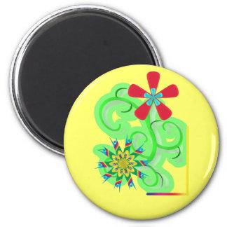 Flores seculares del símbolo del humanista y del a imán redondo 5 cm