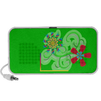 Flores seculares del símbolo del humanista y del a laptop altavoz