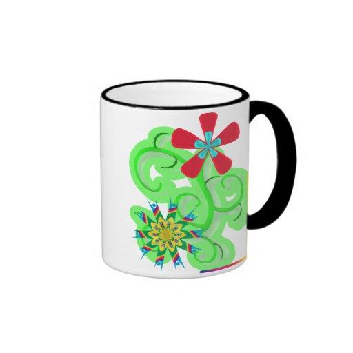 Flores seculares del símbolo del humanista y del a taza de café