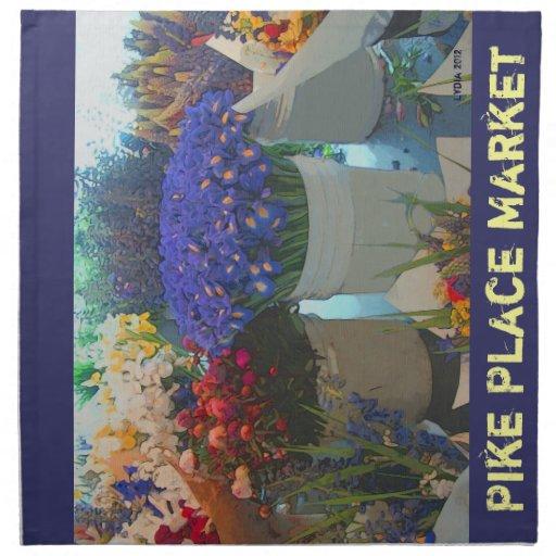 Flores - servilleta del mercado de lugar de Pike