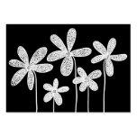 Flores simples que dibujan - blanco en negro plantillas de tarjetas de visita