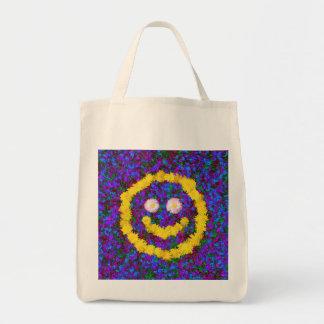 Flores sonrientes felices del diente de león de la bolsa tela para la compra