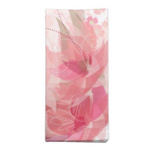Flores suavemente rosadas y de cobre amarillo - se servilleta imprimida