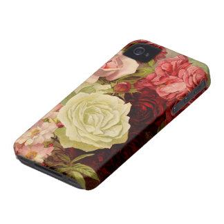 Flores subiós jardín, amor y romance del vintage iPhone 4 Case-Mate cárcasa