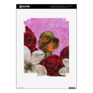 Flores subiós mujer del vintage iPad 3 pegatinas skins