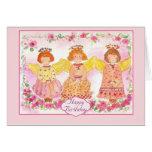 Flores subiós rosadas de la tarjeta de cumpleaños