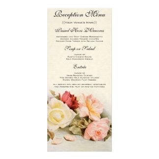 Flores subiós vintage, tarjeta floral del menú del lonas personalizadas