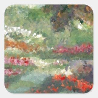 Flores Sunlit del estilo impresionista alegre de l Pegatinas Cuadradases Personalizadas