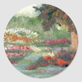 Flores Sunlit del estilo impresionista alegre de l Pegatinas Redondas