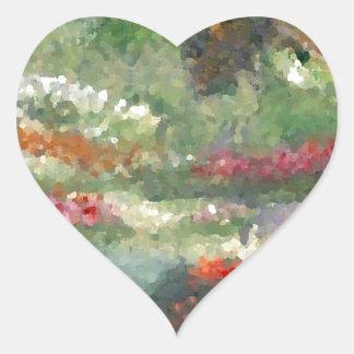 Flores Sunlit del estilo impresionista alegre de l Pegatina De Corazón Personalizadas