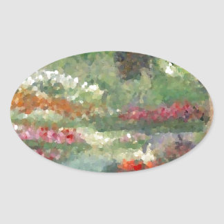 Flores Sunlit del estilo impresionista alegre de l Calcomanía De Ovaladas