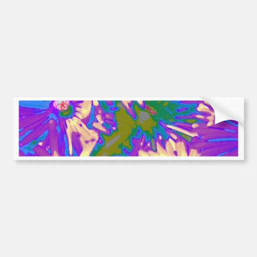 Flores surrealistas de la lavanda etiqueta de parachoque