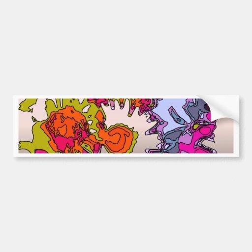 Flores surrealistas, naranja etiqueta de parachoque