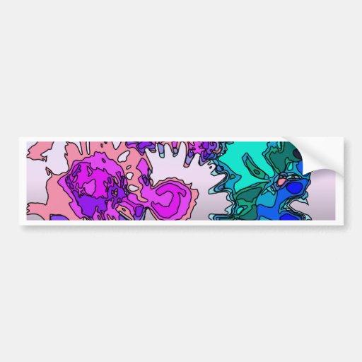 Flores surrealistas, rosadas etiqueta de parachoque