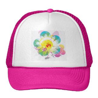 Flores teñidas lazo gorras de camionero