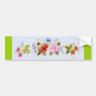 Flores tradicionales etiqueta de parachoque