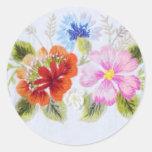 Flores tradicionales etiquetas redondas