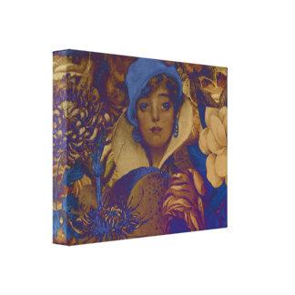 Flores Trippy de la mujer del vintage Lienzo Envuelto Para Galerias