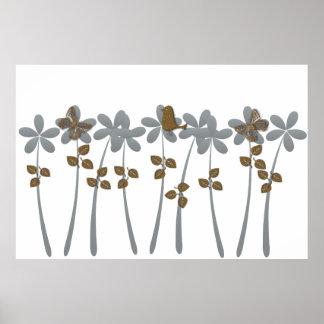 Flores tropicales abstractas del gris del oro del póster