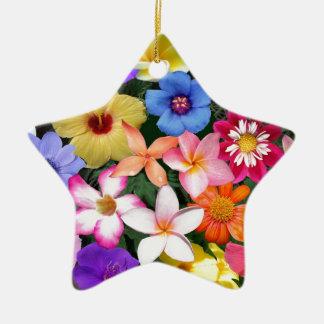 Flores tropicales adorno navideño de cerámica en forma de estrella