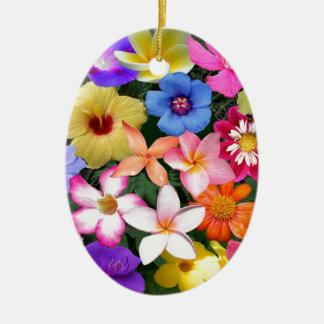Flores tropicales adorno navideño ovalado de cerámica