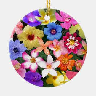 Flores tropicales adorno navideño redondo de cerámica