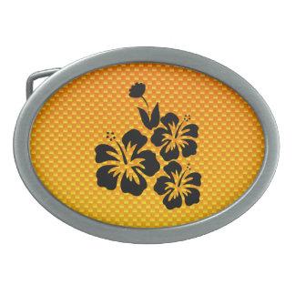 Flores tropicales amarillo-naranja hebillas cinturon ovales