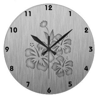Flores tropicales cepilladas de la Metal-mirada Reloj Redondo Grande