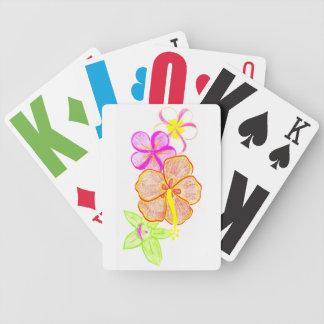 Flores tropicales de la mezcla baraja de cartas