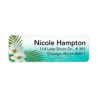 Flores tropicales de la playa de la hawaiana etiquetas de remite