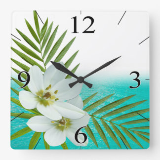 Flores tropicales de la playa de la hawaiana reloj cuadrado