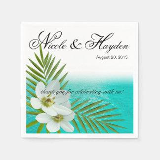Flores tropicales de la playa de la hawaiana servilleta desechable