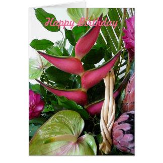 Flores tropicales de los Anthurium verdes rosados Tarjeta De Felicitación