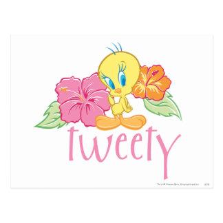 Flores tropicales de Tweety Tarjeta Postal