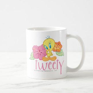 Flores tropicales de Tweety Taza De Café