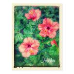 Flores tropicales del hibisco del estilo del postal
